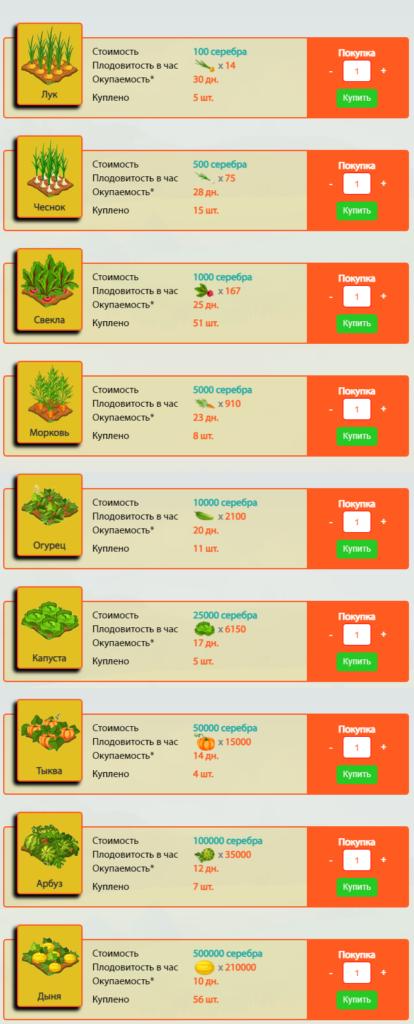 Ферма - online-ogorod.net - маркетинг игры